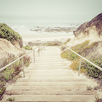 Crystal Cove wooden stairs in Laguna Beach California. Lagina Beach is a Southern California beach city along the Pacific Ocean in the United States