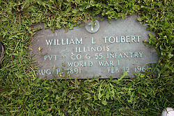 31 August 2017:   Veterans graves in Park Hill Cemetery in eastern McLean County.<br /> <br /> William L Tolbert  Illinois Private  Co G Infantry  World War 1  August 10 1891  February 12, 1960