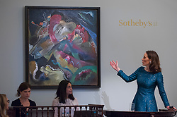 "© Licensed to London News Pictures. 21/06/2017. London, UK. ""Bild mit weissen Linien"", 1913, by Wassily Kandinsky sold for a hammer price of GBP29.2m (estimate > USD35m) at Sotheby's Impressionist and Modern Art evening sale in New Bond Street. Photo credit : Stephen Chung/LNP"