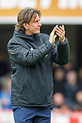 Brentford manager Thomas Frank applauding the Brentford football fans, football supporters, before the EFL Sky Bet Championship match between Brentford and Preston North End at Griffin Park, London, England on 5 May 2019.