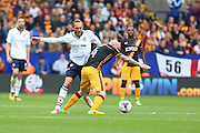 Tom Thorpe of Bolton Wanderers (32) and Bradford City midfielder Nicky Law (4) battle for the ball  during the EFL Sky Bet League 1 match between Bolton Wanderers and Bradford City at the Macron Stadium, Bolton, England on 24 September 2016. Photo by Simon Brady.