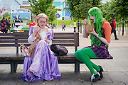 UNITED KINGDOM, London: 27 May 2016 Cosplay fans have some lunch outside of the MCM London Comic Con held all this weekend at The ExCeL Centre. The comic convention will see an estimated 150,000 cosplay and comic fans flock to the exhibition. Rick Findler / Story Picture Agency