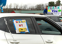 """Missing my """"Peeps"""" sums it for this car driving through town during the Gilford Teacher Parade on Friday afternoon.  (Karen Bobotas/for the Laconia Daily Sun)"""