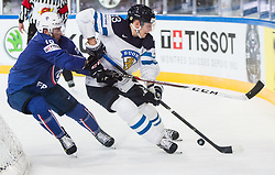 Yohann Auvitu of France vs Joonas Kemppainen of Finland during the 2017 IIHF Men's World Championship group B Ice hockey match between National Teams of Finland and France, on May 7, 2017 in Accorhotels Arena in Paris, France. Photo by Vid Ponikvar / Sportida