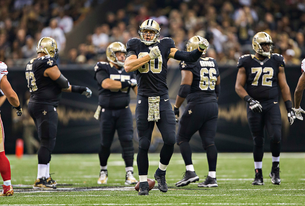 NEW ORLEANS, LA - NOVEMBER 9:  Jimmy Graham #80 of the New Orleans Saints reacts to a first down late in the fourth quarter during a game against the San Francisco 49ers at the Mercedes-Benz Superdome on November 9, 2014 in New Orleans, Louisiana. (Photo by Wesley Hitt/Getty Images) *** Local Caption *** Jimmy Graham