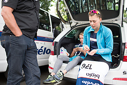 Lisa Klein (GER) of Cervélo-Bigla Cycling Team pins on her race number before the start of the Prudential RideLondon Classique, a 66 km road race in London on July 30, 2016 in the United Kingdom.
