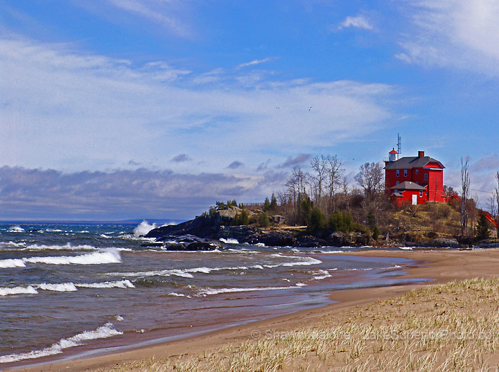 Marquette Lighthouse sunny day lighthouses in the Upper Peninsula of Michigan