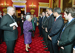 Queen Elizabeth II, accompanied by the Duke of York (left), meets people during the opening of Pitch@Palace 6.0, an initiative set up by the Duke of York to guide, help and connect entrepreneurs with potential supporters, including CEOs, influencers, mentors, and business partners, in order to accelerate and amplify their businesses, at St James's Palace in London.