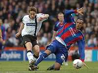 Photo: Leigh Quinnell.<br /> Derby County v Crystal Palace. Coca Cola Championship. 25/03/2006. Palaces' Fitz Hall dives in to stop Derbys Tommy Smith from shooting at goal.