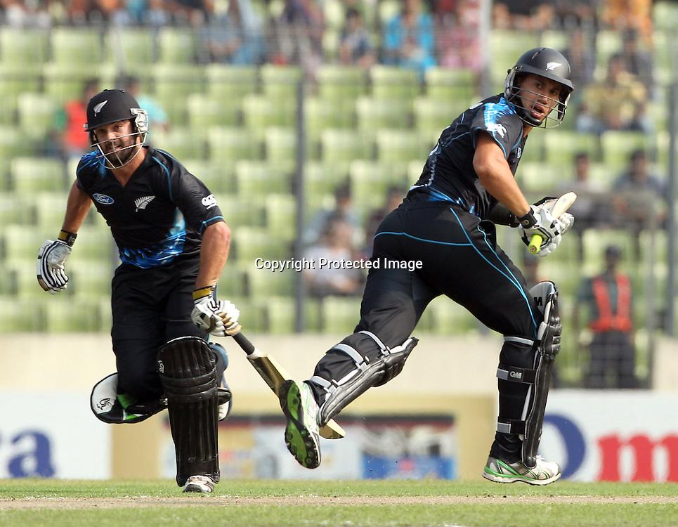 Anton Devcich and Hamish Rutherford, New Zealand Black Caps v Bangladesh, 1st and only T20 international cricket match at Shere Bangla National Stadium, Mirpur, Bangladesh. 6 November 2013. Photo: Shamsul Hoque Tanku/Photosport.co.nz