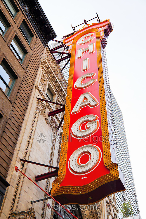 Chicago Theater marquee sign. The Chicago Theatre is a Chicago landmark listed with the National Register of Historic Places.