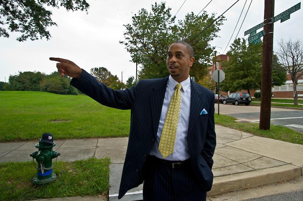 Rechtsanwalt und Demokrat Mustafa Dozier im Wahlbezirk 100, Washington DC..© Stefan Falke