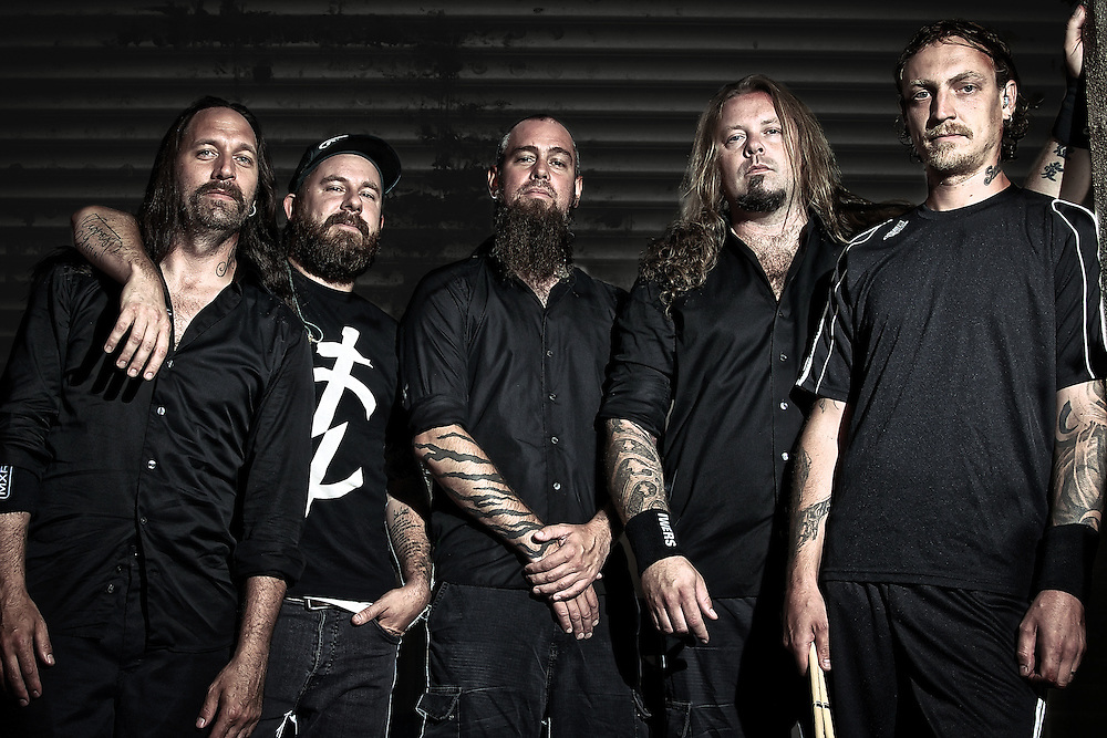 Swedish metal band, In Flames photographed backstage on Mayhem Fest 2011 for an editorial assignment