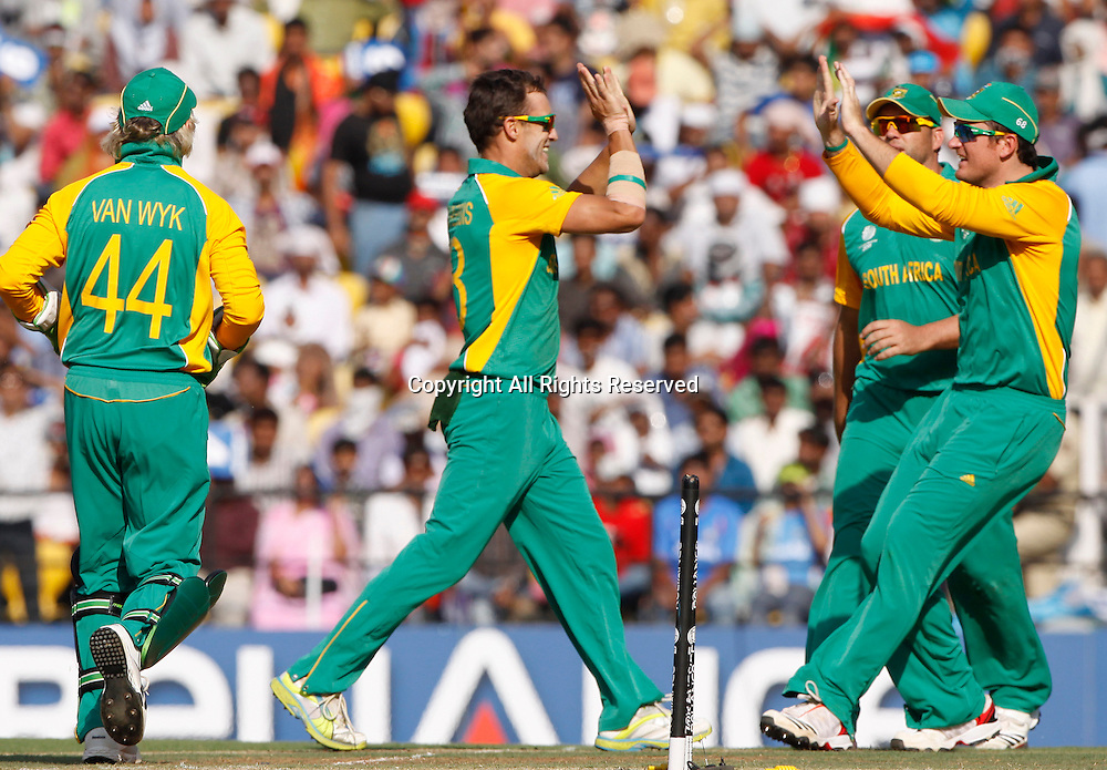 12.03.2011 Cricket World Cup India v South Africa from Nagpur.Du Plessis of South Africa celebrates the wicket of Virender Sehwag  during the match of the ICC Cricket World Cup between India and South Africa.