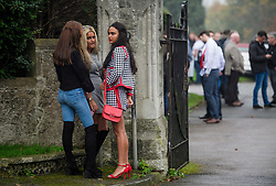 © Licensed to London News Pictures. 26/10/2017. Epsom, UK. A group of young women attend the funeral of Tom 'Tomboy' Doherty the nephew of Big Fat Gypsy Weddings star Paddy Doherty, at Epsom Cemetery in Epsom, Surrey. Tom Doherty was 17 when he was killed in a car crash in South Nutfield in Surrey on October 9. He had passed his driving test just days earlier. Photo credit: Ben Cawthra/LNP