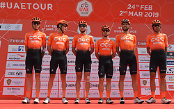March 2, 2019 - Dubai, United Arab Emirates - Members of the CCC Team, at the start line of the seventh and final stage - Dubai Stage of the UAE Tour 2019, a 145km with a start from Dubai Safari Park and finish in City Walk area. .On Saturday, March 2, 2019, in Dubai Safari Park, Dubai Emirate, United Arab Emirates. (Credit Image: © Artur Widak/NurPhoto via ZUMA Press)
