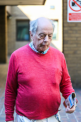 "Iain MacMaster, 70, leaves Southwark Crown Court in London where his is on trial, accused of conspiring with Morris Benhamu, 42, to defraud Claire Gordon - once dubbed ""Britain's answer to Brigitte Bardot"" - and her relatives as her rightful beneficiaries of her entire estate. London, April 19 2018."