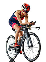 one caucasian woman practicing triathlon triathlete ironman studio shot  isolated on white background