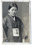 portrait of young female wearing a traditional kimono 1930s Japan