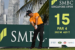 SINGAPORE, Jan. 17, 2019  China's player Liang Wenchong competes during the first day of competition at the SMBC Singapore Open held in Singapore's Sentosa Golf Club on Jan 17, 2019. (Credit Image: © Then Chih Wey/Xinhua via ZUMA Wire)