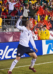 United States midfielder Michael Bradley (4) celebrates his second goal of the game in the 92nd minute against Mexico.  The United States men's soccer team defeated the Mexican national team 2-0 in CONCACAF final group qualifying for the 2010 World Cup at Columbus Crew Stadium in Columbus, Ohio on February 11, 2009.
