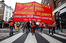© Licensed to London News Pictures.01/05/2017.London, UK. A trade union banner as Workers and activists take part in a march from Clerkenwell Green to Trafalgar Square in London on May,  May 1, 2017.Photo credit: Tom Nicholson/LNP