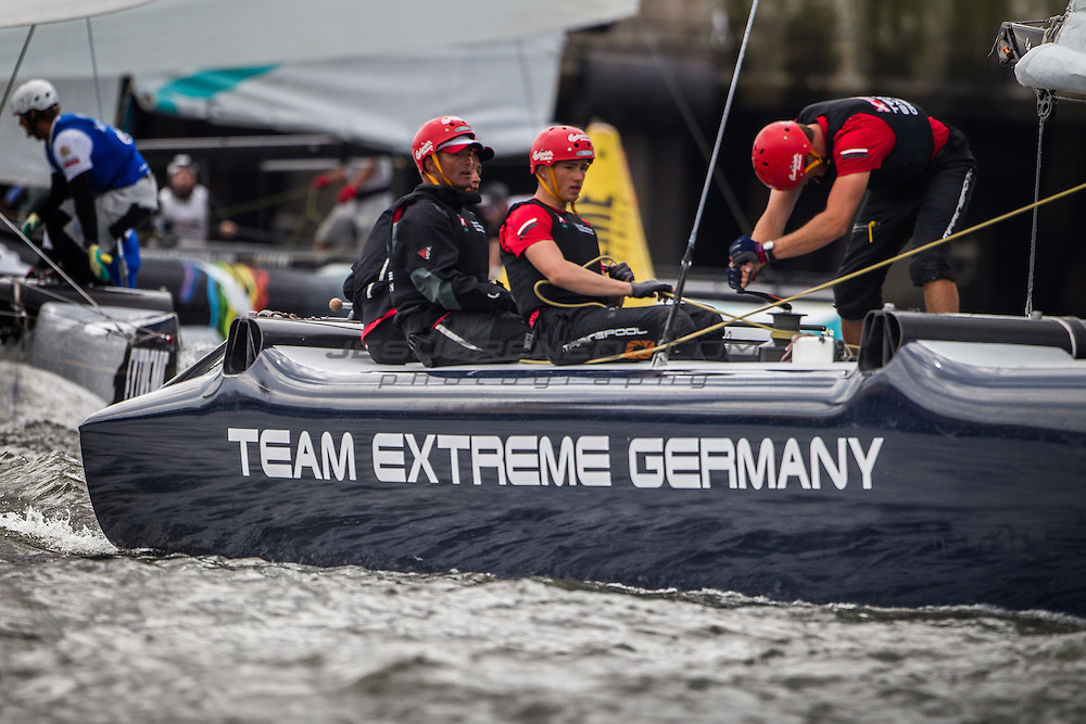 2015 Extreme Sailing Series - Act 5 - Hamburg.<br /> Team Extreme Germany skippered by Paul Kohlhoff (GER) and crewed by Johann Kohlhoff (GER), Peter Kohlhoff (GER), Max Kohlhoff (GER) and Philip Kasueske (DEN)<br /> Credit Jesus Renedo.