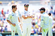 Matt Henry of the New Zealand Black Caps, Brendon McCullum (*c) of the New Zealand Black Caps and Tim Southee of the New Zealand Black Caps talk tactics during Day 1 on the 13th of November 2015. The New Zealand Black Caps tour of Australia, 2nd test at the WACA ground in Perth, 13 - 17th of November 2015.   Photo: Daniel Carson / www.photosport.nz