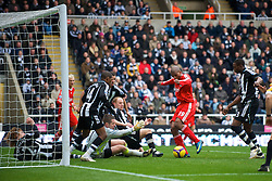 NEWCASTLE, ENGLAND - Sunday, December 28, 2008: Liverpool's Ryan Babel scores the third goal against Newcastle United during the Premiership match at St James' Park. (Photo by David Rawcliffe/Propaganda)