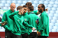 James Maddison of Norwich and Cameron Jerome of Norwich mess a round before the Sky Bet Championship match at Villa Park, Birmingham<br /> Picture by Paul Chesterton/Focus Images Ltd +44 7904 640267<br /> 01/04/201