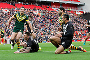 New Zealand's Shaun Kenny-Dowall mops up the danger during the Ladbrokes Four Nations match between Australia and New Zealand at Anfield, Liverpool, England on 20 November 2016. Photo by Craig Galloway.