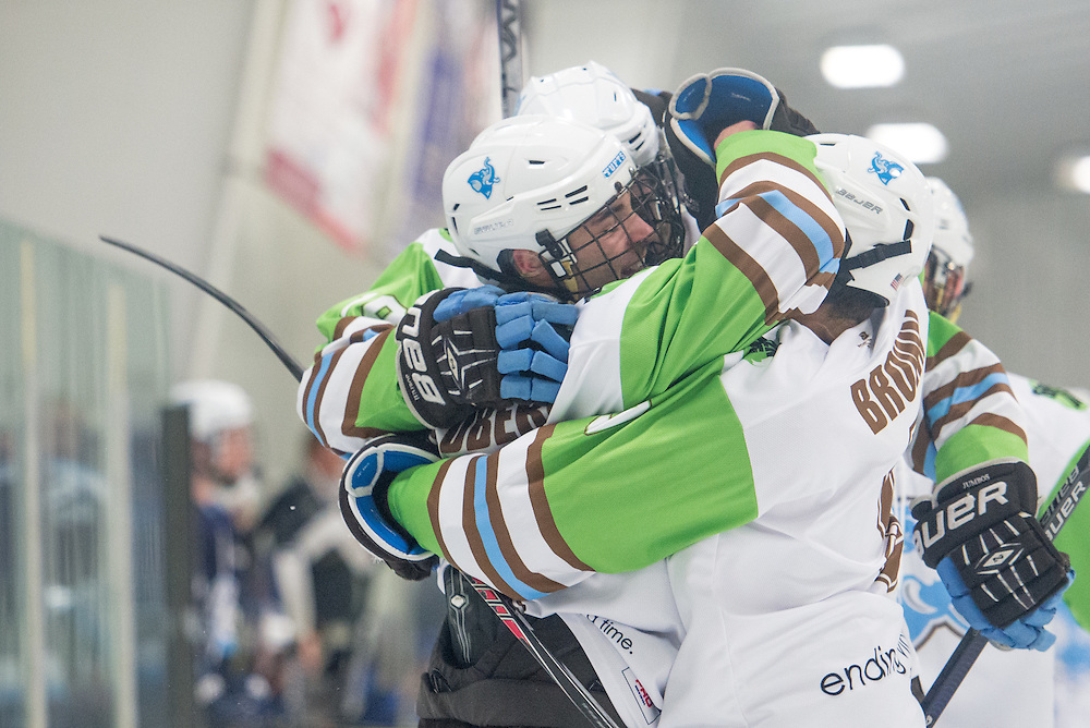 2/5/16 – Medford/Somerville, MA – Teammates congratulate Tufts forward Chad Goldberg, A18, on his goal in the game against Conn. College on Friday, Feb. 5, 2016. (Evan Sayles / The Tufts Daily)
