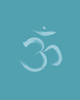 Sanscrit sacred symbol Om or Aum in Yoga, spiritual icon design on light sky blue background. Artistic Japanese Zen illustration.