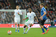 England midfielder Raheem Sterling  plays the ball during the Group E UEFA European 2016 Qualifier match between England and Estonia at Wembley Stadium, London, England on 9 October 2015. Photo by Alan Franklin.