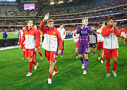 MELBOURNE, AUSTRALIA - Wednesday, July 24, 2013: Liverpool's captain Steven Gerrard waves to the supporters after his side's 2-0 victory  over Melbourne Victory during a preseason friendly match at the Melbourne Cricket Ground. (Pic by David Rawcliffe/Propaganda)