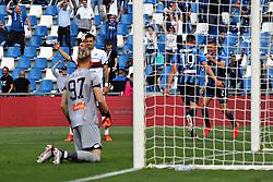 """Foto LaPresse/Filippo Rubin<br /> 11/05/2019 Reggio Emilia (Italia)<br /> Sport Calcio<br /> Atalanta - Genoa - Campionato di calcio Serie A 2018/2019 - Stadio """"Mapei Stadium""""<br /> Nella foto: ESULTANZA GOAL TIMOTHY CASTAGNE (ATALANTA)<br /> <br /> Photo LaPresse/Filippo Rubin<br /> May 11, 2019 Reggio Emilia (Italy)<br /> Sport Soccer<br /> Atalanta vs Genoa - Italian Football Championship League A 2018/2019 - """"Mapei stadium"""" Stadium <br /> In the pic: CELEBRATION GOAL ATALANTA TIMOTHY CASTAGNE (ATALANTA)"""