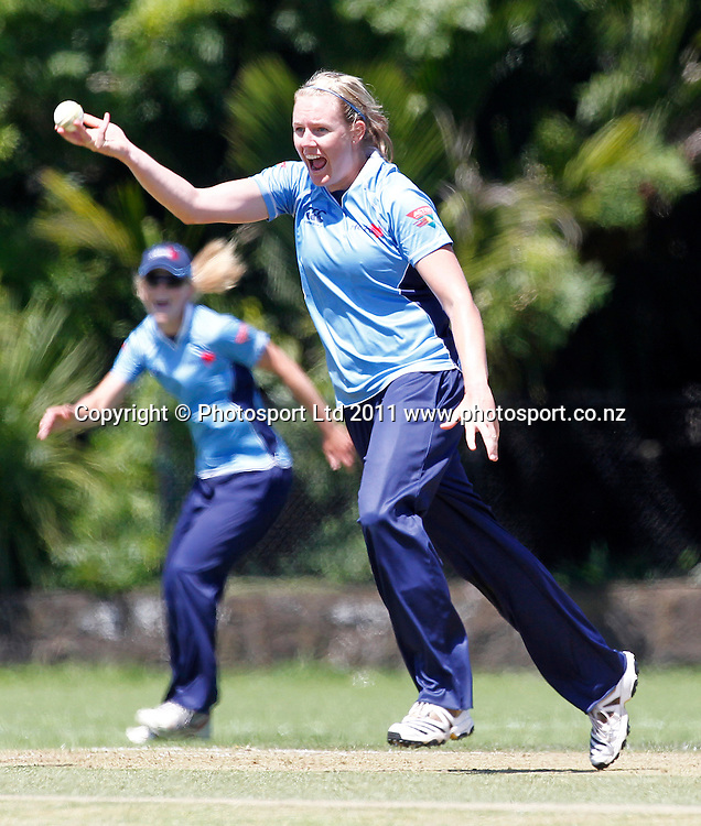 Hearts bowler Megan Tremaine celebrates a wicket. Women's One Day Cricket, Action Cricket Cup, Auckland Hearts v Otago Sparks, Melville Park, Auckland, Monday 3 January 2011, . Photo: Simon Watts/photosport.co.nz