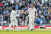 Wicket - Stuart Broad of England celebrates taking the wicket of Jasprit Bumrah of India to end the India innings during day two of the fourth SpecSavers International Test Match 2018 match between England and India at the Ageas Bowl, Southampton, United Kingdom on 31 August 2018.