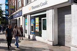 © Licensed to London News Pictures. 23/09/2019. London, UK. A closed Thomas Cook holiday store in North London. British holiday package firm Thomas Cook announced it is in administration.The company failed to raise an additional £200 million of funds to secure a rescue package was not forthcoming.Photo credit: Ray Tang/LNP