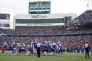 The Buffalo Bills defense leaps and tries to block a first quarter field goal good for a 6-0 New England Patriots lead during the 2017 NFL week 13 regular season football game against the New England Patriots, Sunday, Dec. 3, 2017 in Orchard Park, N.Y. The Patriots won the game 23-3. (©Paul Anthony Spinelli)