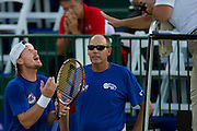 IRVING, TX - JULY 10:  Alex Bogomolov Jr. of the Texas Wild has words with the official during a mens doubles match against the Washington Kastles on July 10, 2013 at the Four Seasons Resort and Club in Irving, Texas.  (Photo by Cooper Neill/Getty Images) *** Local Caption *** Alex Bogomolov Jr.