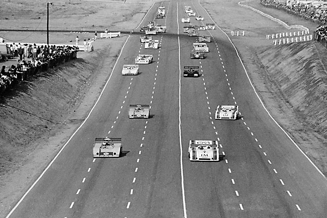 First of 2 pace laps for the 1972 Riverside Can-Am, taken from bridge over middle of mile-long back straight by the late Gerald Schmitt; contact Pete Lyons at petelyons.com