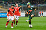 Matthew Kennedy (16) of Plymouth Argyle does a step-over while attacking the Morecmbe goal during the EFL Sky Bet League 2 match between Plymouth Argyle and Morecambe at Home Park, Plymouth, England on 18 March 2017. Photo by Graham Hunt.