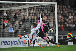 MK DONS DEAN BOWDITCH MISSES HIS CHANCE TO PUT MK DONS IN FRONT, MK Dons v Northampton Town, FA Cup Emirates FA Cup Third round Repay, Stadium MK, Tuesday 19th January 2016
