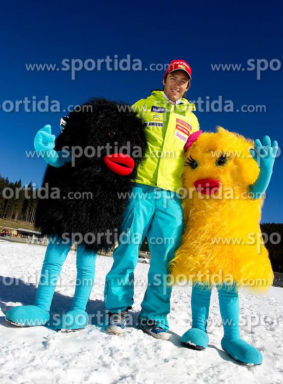 Rok Perko with mascots Xobi during media day of Slovenian Alpine Ski team on October 17, 2011, in Rudno polje, Pokljuka, Slovenia. (Photo by Vid Ponikvar / Sportida)
