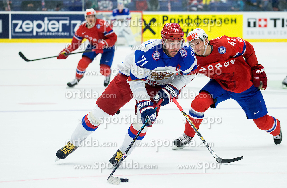 Ilya Kovalchuk of Russia vs Henrik Odegaard of Norway during Ice Hockey match between Russia and Norway at Day 1 in Group B of 2015 IIHF World Championship, on May 1, 2015 in CEZ Arena, Ostrava, Czech Republic. Photo by Vid Ponikvar / Sportida