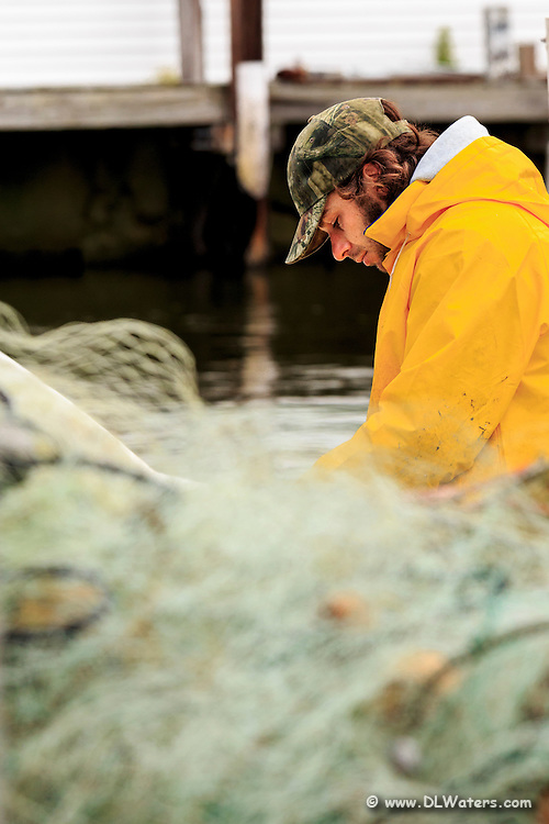A  Outer Banks fisherman unloads his catch in Wancheese, NC.