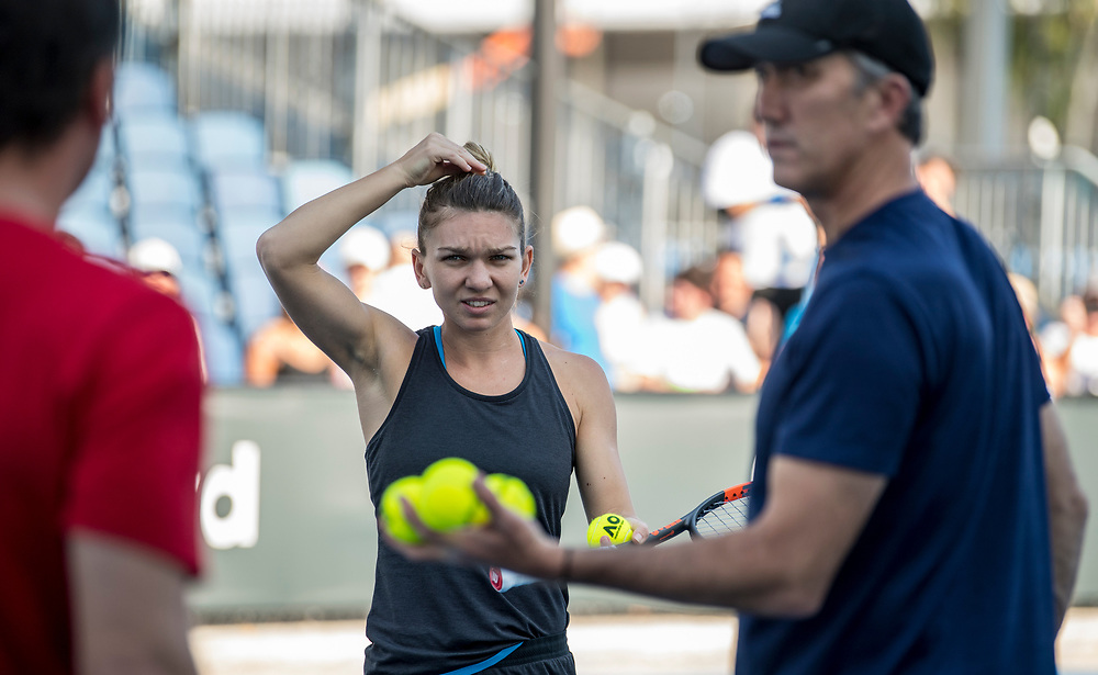 Simona Halep of Romania during practice ahead of the women's singles championship match during the 2018 Australian Open on day 13 in Melbourne, Australia on Saturday afternoon January 27, 2018.<br /> (Ben Solomon/Tennis Australia)