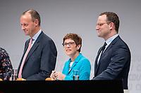 30 NOV 2018, BERLIN/GERMANY:<br /> Friedrich Merz (L), CDU, Rechtanwalt und ehem. stellv. CDU/CSU Fraktionsvorsitzender, Annegret Kramp-Karrenbauer (M), CDU Generalsekretaerin, und Jens Spahn (R), CDU, Bundesgesundheitsminister, waehrend der Fragerunden der Teilnehmer,  Regionalkonferenz der CDU zur Vorstellung der Kandidaten fuer das Amt des Bundesvorsitzenden der CDU, Estrell Convention Center<br /> IMAGE: 20181130-01-037