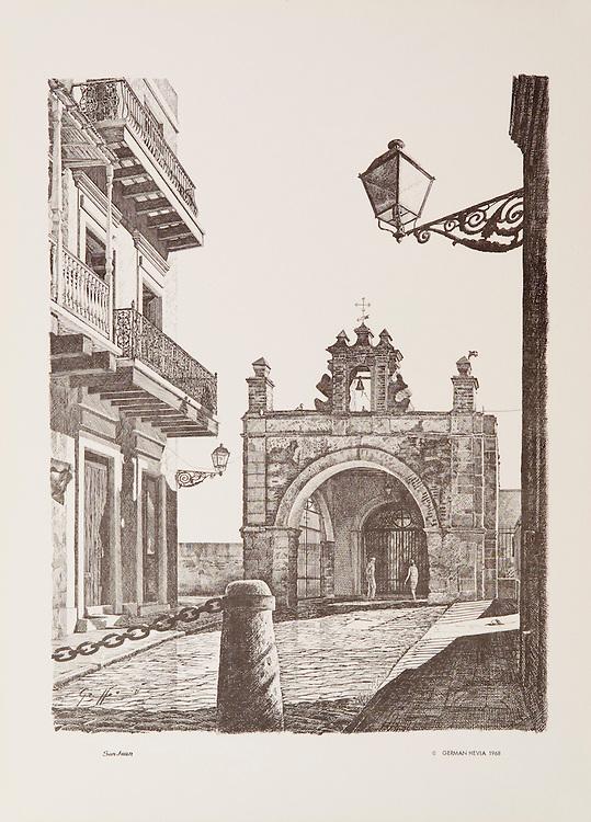 Cat. # 17 - Lithographic print of Pen and Ink drawing of Capilla del Cristo, 1638, originally dedicated to St. Catherine, where according to legend, a miracle happened, is located at the bottom of Calle del Santo Cristo in Old San Juan, Puerto Rico. This print is part of a series printed on antique colored paper.<br /> Paper size is 11 x 15&quot;. Image size is approximately 9 x 12&quot; <br /> Cat. #17 - Impresi&oacute;n litogr&aacute;fica de un dibujo a plumilla de la Capilla de Cristo, 1638, originalmente dedicada a Santa Catalina y en donde cuenta la leyenda ocurrio un milagro, esta situada al final de la Calle del Santo Cristo en el Viejo San Juan, Puerto Rico. Esta impresi&oacute;n es parte de una serie impresa en papel estilo antiguo.<br /> Tama&ntilde;o del papel es 11 x 15&quot;. Tama&ntilde;o de la imagen es aproximadamente 9 x 12&quot;